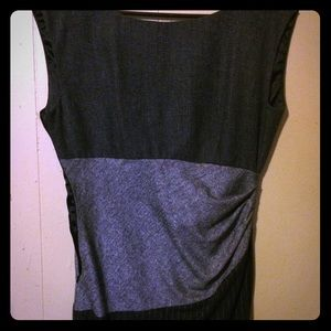 Venus Black and Grey Dramatic Wool Wrap Dress